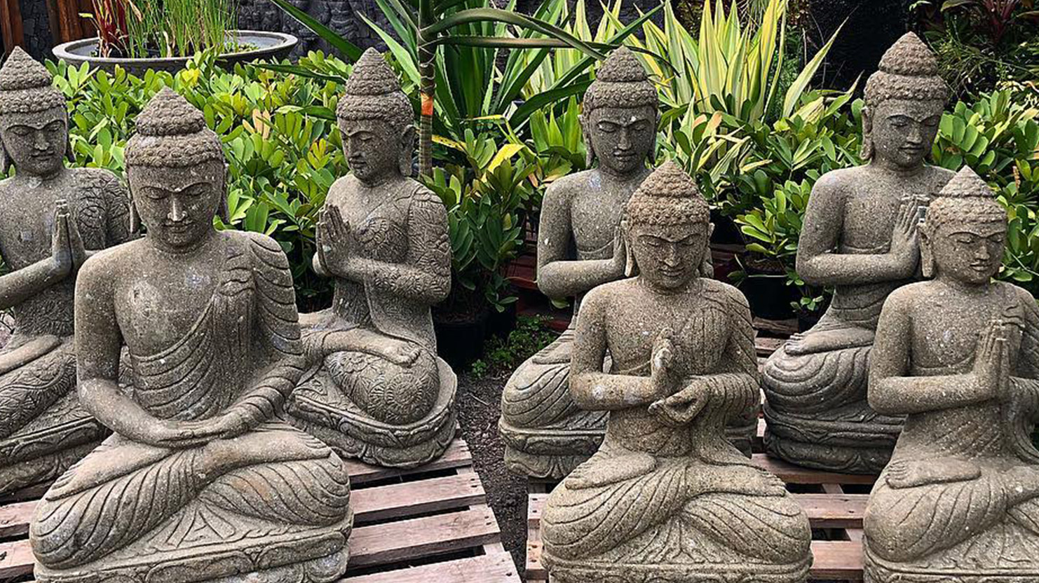 A huge range of authentic lava stone statues of all sizes, pots, wall reliefs, water features, pavers and beautifully carved wooden doors – Bamboo South Coast
