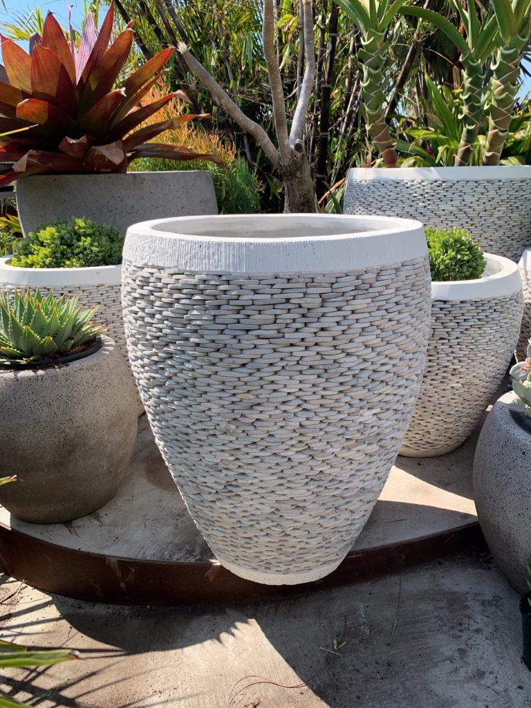 White pebble pot 80cm high 62cm wide