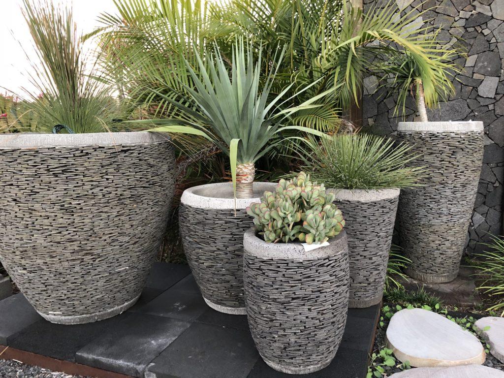 Slate pots mixed arrangement