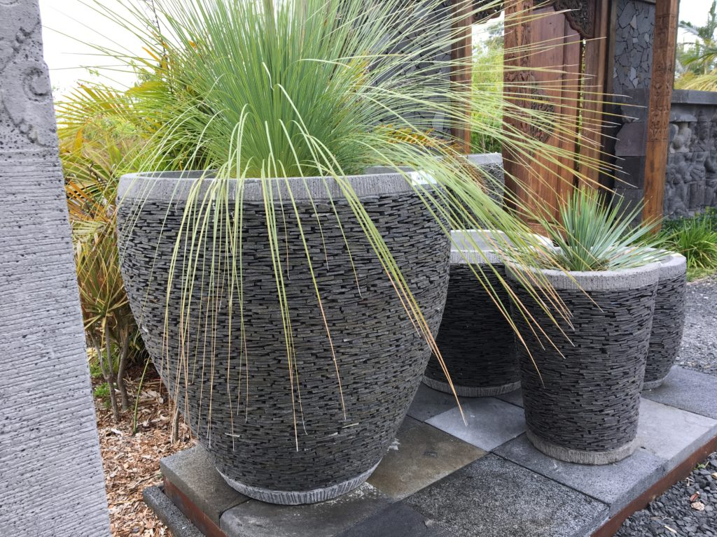 Slate pot URN SHAPE 90cm and 50cm(h) x 40cm (w) on right