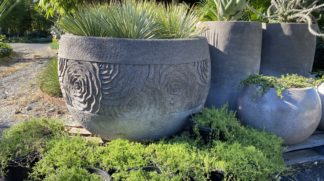 Carved lotus ripple pots grey handmade 120cm