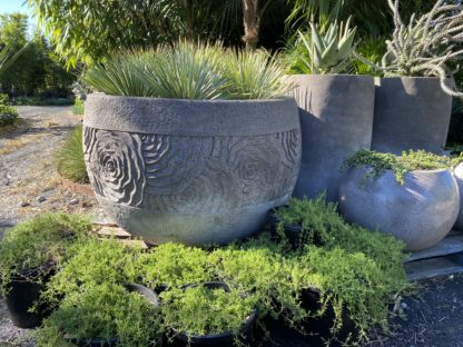 Carved lotus ripple pots grey handmade 120cm