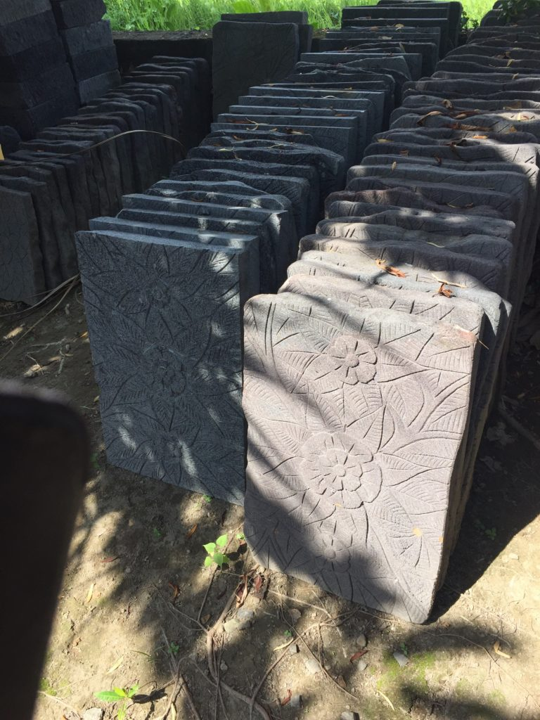 Carved lava stone pavers