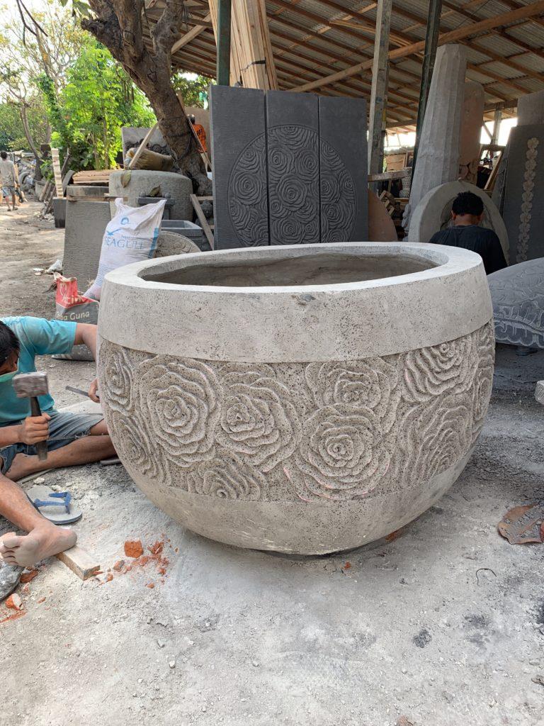 Carved lotus ripple pot 90cm wide