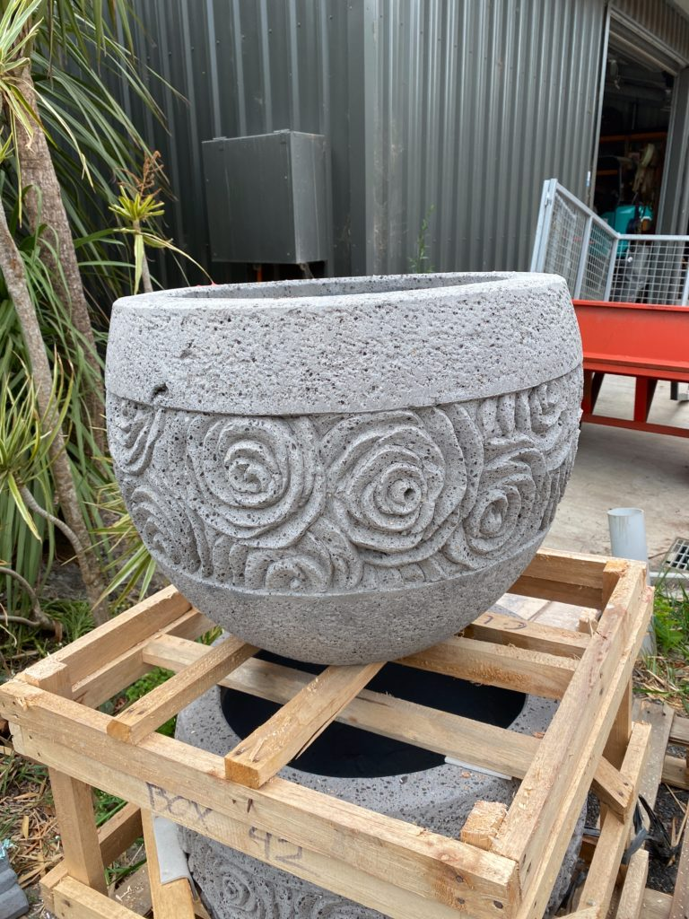 Carved lotus ripple pot 60cm wide