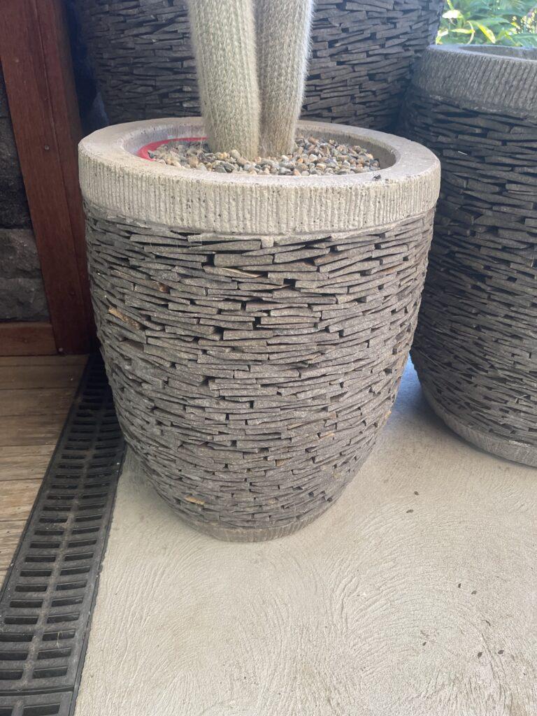 50cm tall x 45cm wide slate cannon pot